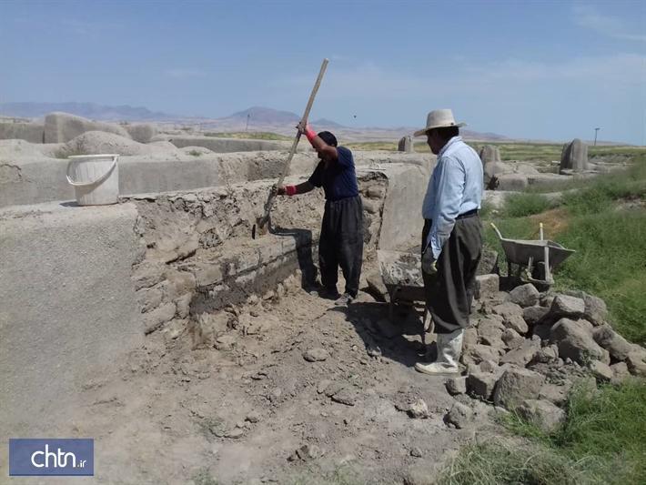 سامان دهی و بازسازی بخشی از محوطه باستانی تپه حسنلو نقده