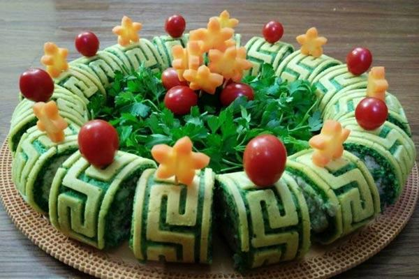 طرز تهیه رولت کوکو سبزی طرح دار بدون فر