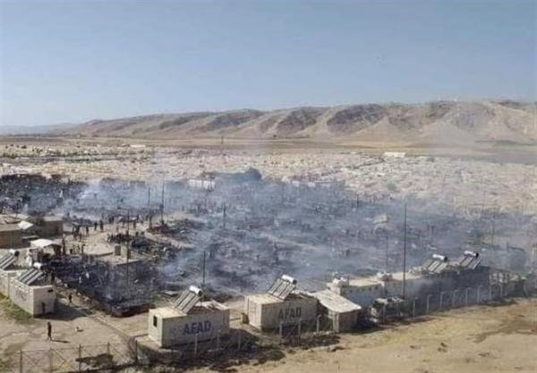 آتش سوزی در اردوگاه ایزدی ها در استان دهوک عراق
